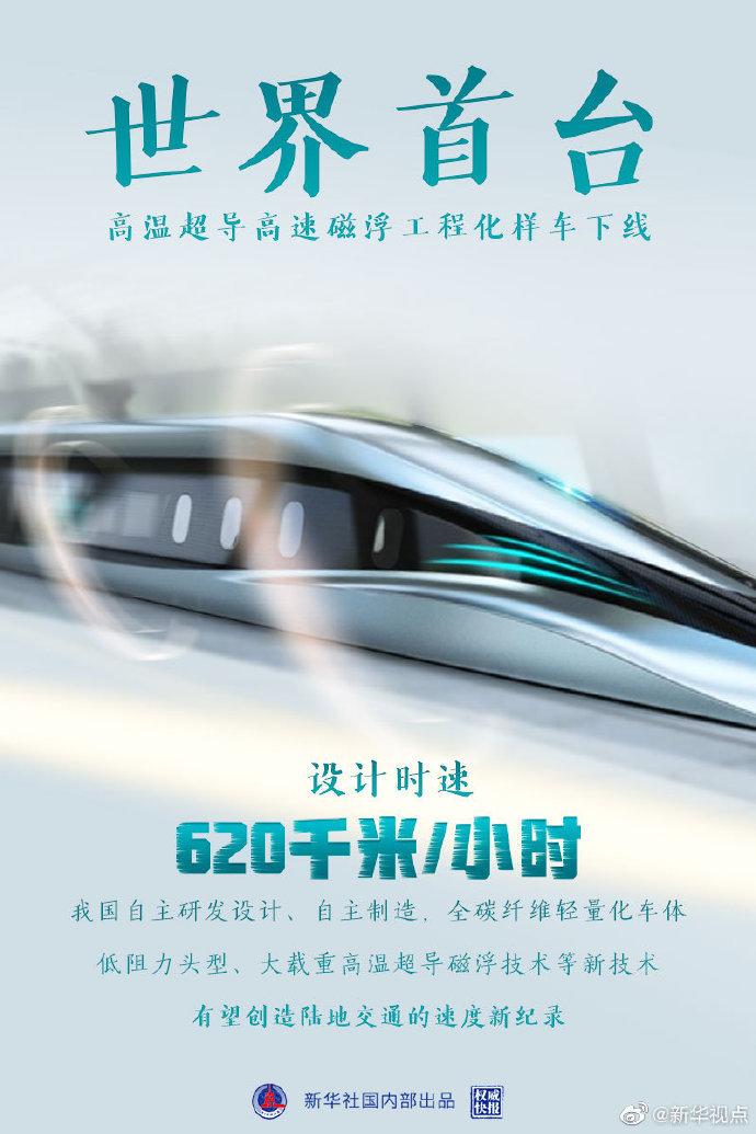 设计时速620千米磁浮样车下线[2021-1-15 9:08:34]