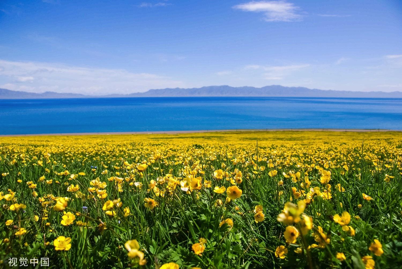赛里木湖位于新疆博尔塔拉州博乐市,清澈蔚蓝的湖水、绿意盎然的草原、漫山怒放的野花,构成了一幅优美和谐的天然画卷。